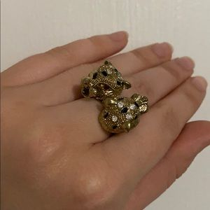 Double Headed Gold Cougar Ring